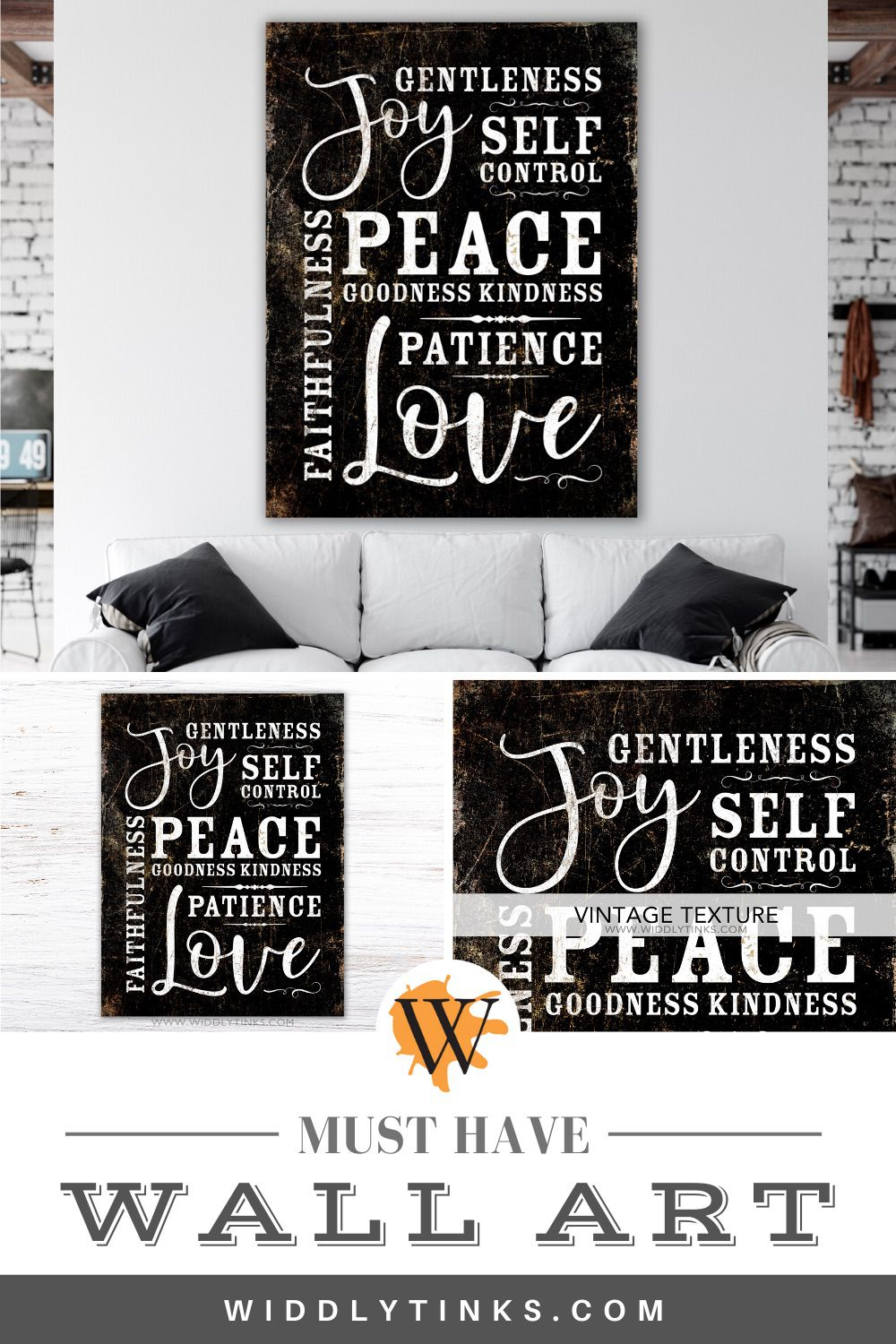 Fruit of the spirit farmhouse sign black