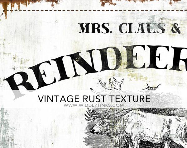 Reindeer Inn Bed Breakfast Vintage Christmas sign closeup