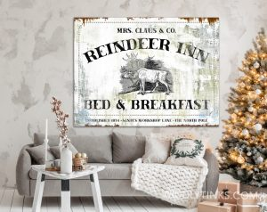 Reindeer Inn Bed Breakfast Vintage Christmas sign room
