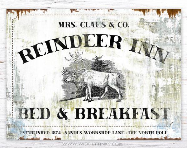 Reindeer Inn Bed Breakfast Vintage Christmas sign simple