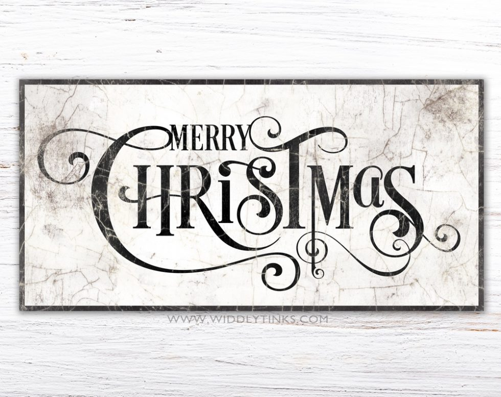 Vintage Merry Christmas Sign simple