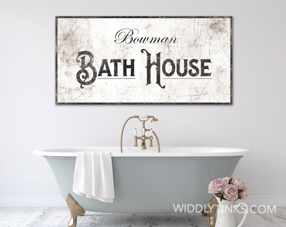 French Country Bath House Sign Widdlytinks Wall Art