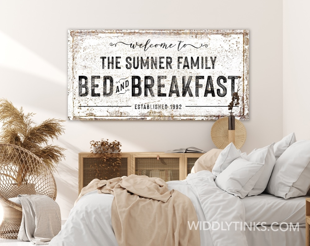 Rustic Farmhouse Family Bed & Breakfast Sign