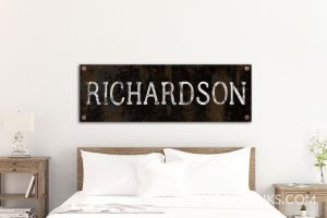 Industrial Last Name Sign Steampunk Grit Bolts Personalized Wall Art