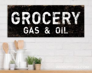 Vintage Style Grocery Gas Oil Sign Black