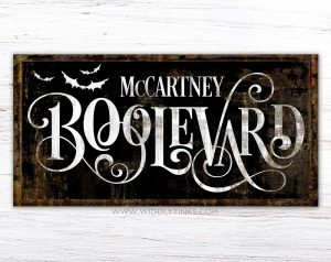 personalized family name Industrial Gothic Family Boolevard Halloween Sign