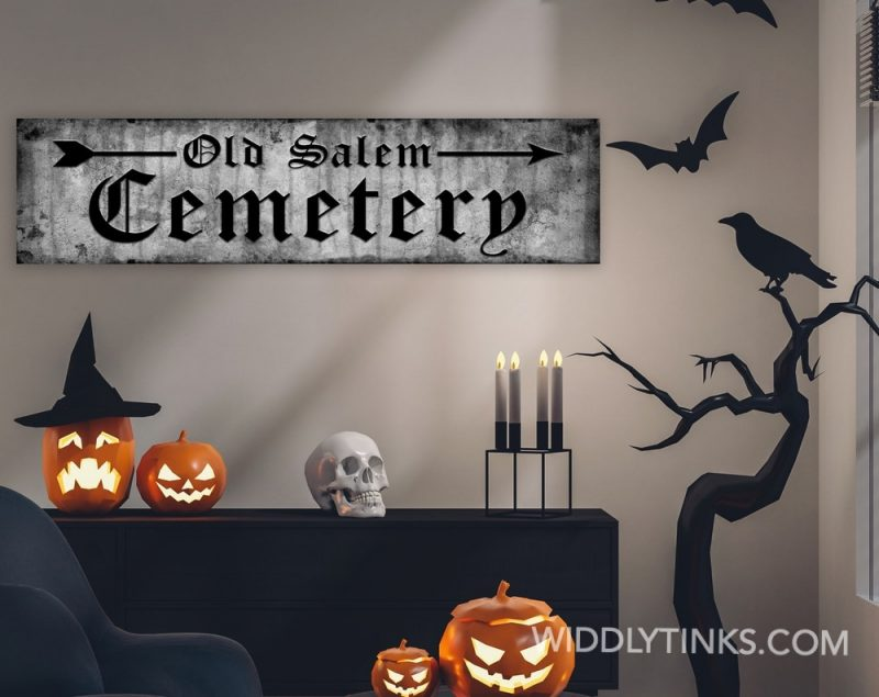 cemetery halloween sign room