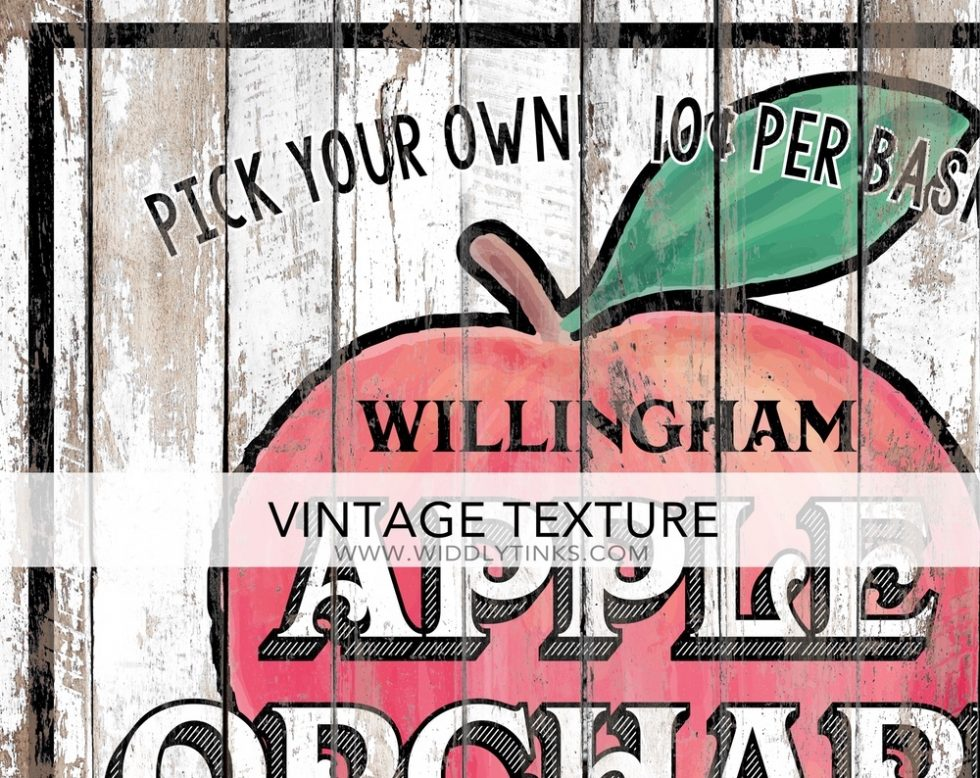 country farmhouse apple orchard sign closeup