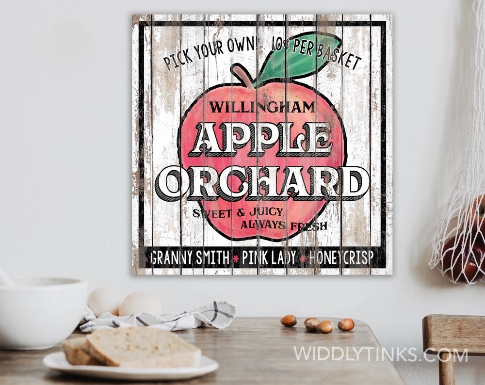 Country Farmhouse Apple Orchard Kitchen Sign