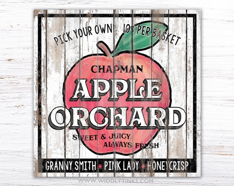 country farmhouse apple orchard sign simple