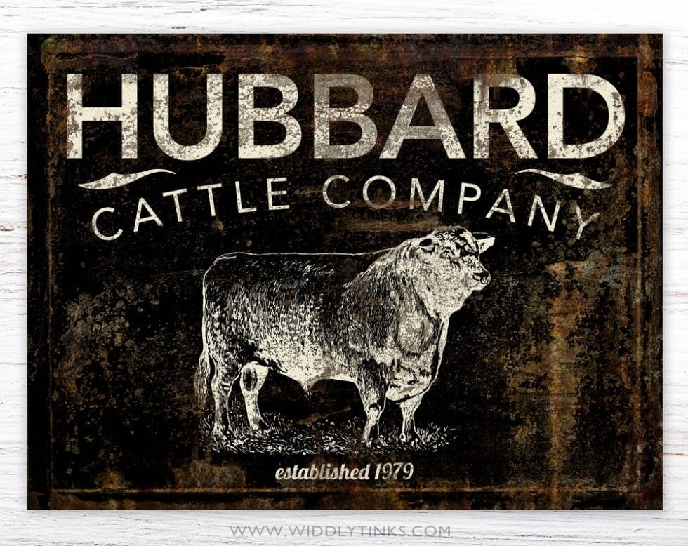 country farmhouse family cattle company sign black simple