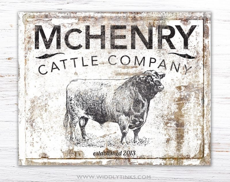 country farmhouse family cattle company sign white simple