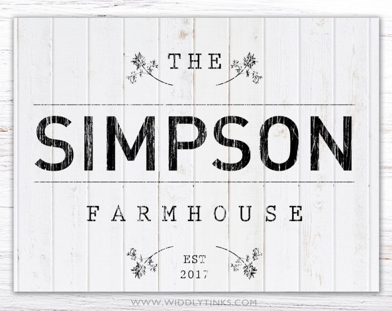 country farmhouse family name established sign simple