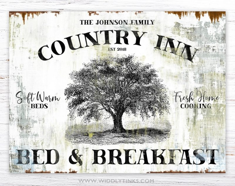 country inn family name bed breakfast sign simple