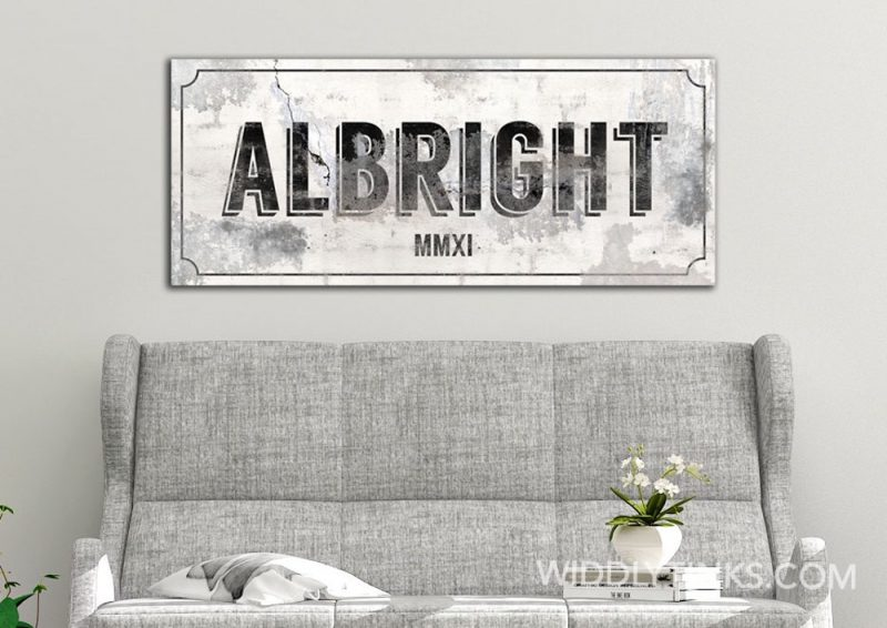 Urban Industrial Style Cracked Cement Personalized Last Name Year Established Sign