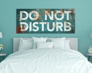 Do Not Disturb Sign Modern Industrial Turquoise