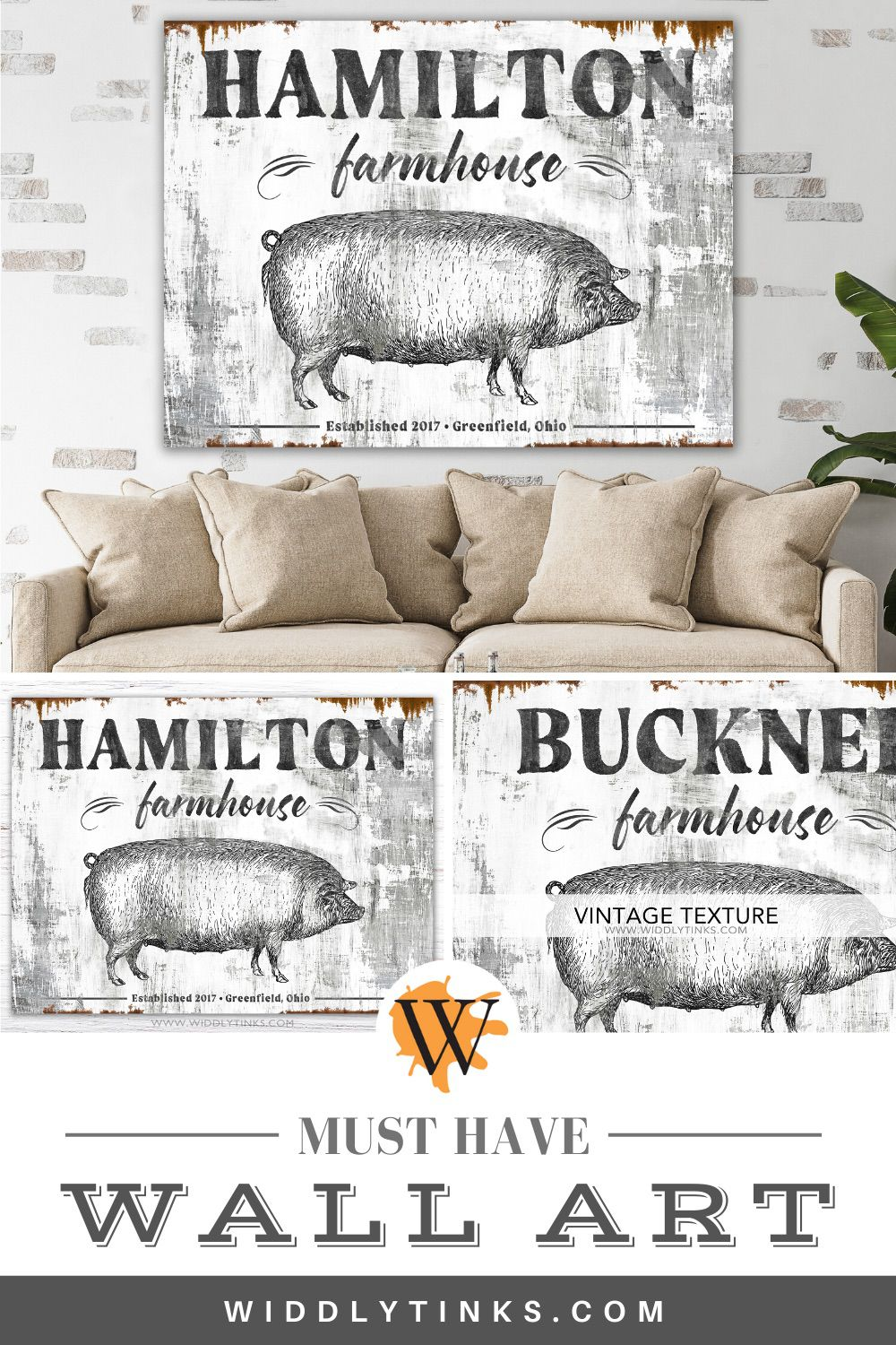 family farmhouse sign with pig