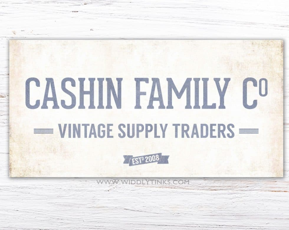 family vintage supply company sign blue simple