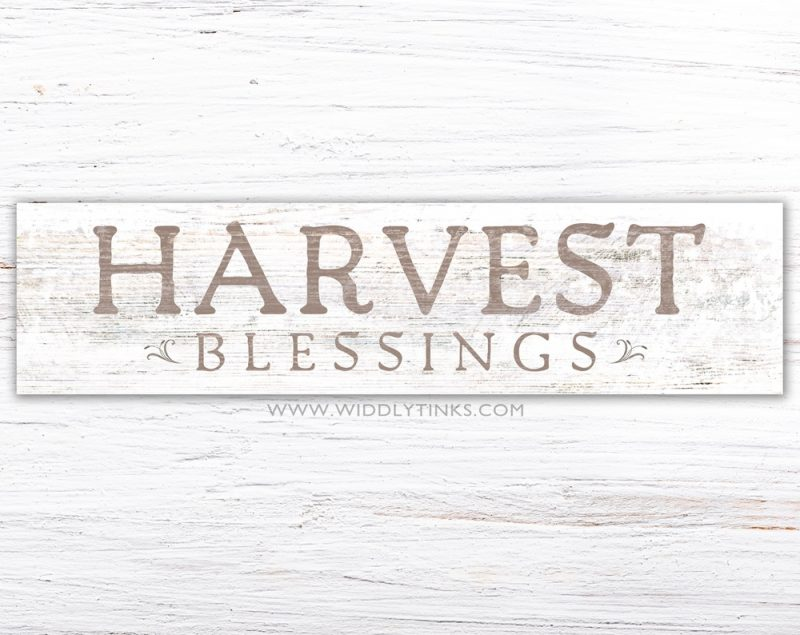 farmhouse chic harvest blessings fall sign simple