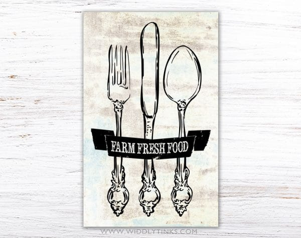 farmhouse kitchen cutlery sign simple