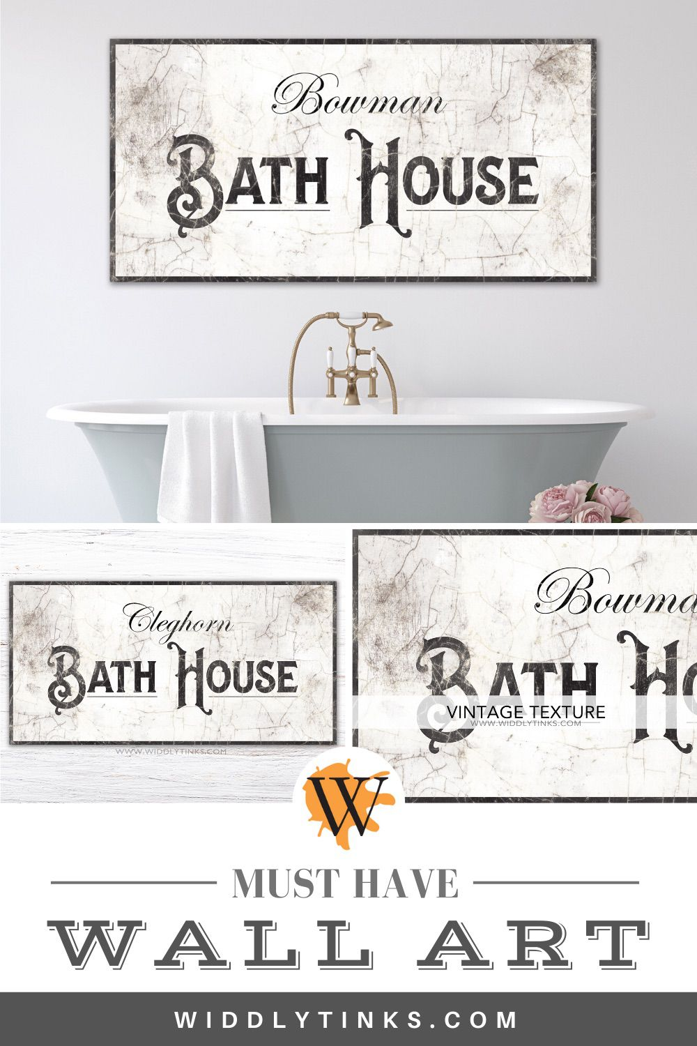 french country bath house sign