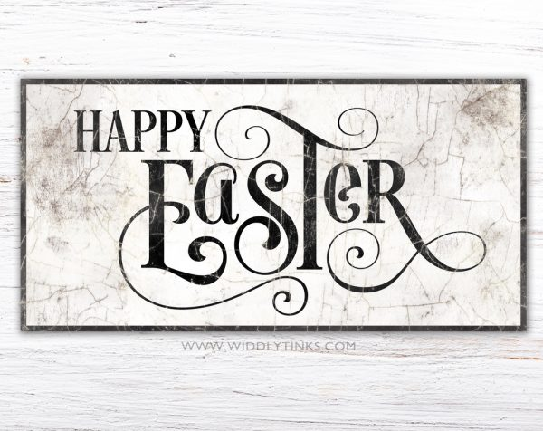 french country happy easter sign simple