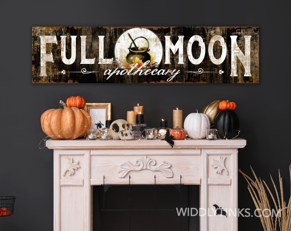 Vintage Gothic Full Moon Apothecary Halloween Sign
