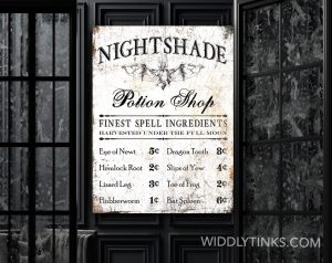 gothic creepy halloween potion shop sign room