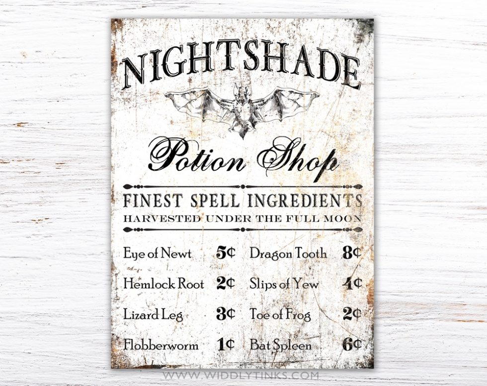 gothic creepy halloween potion shop sign simple