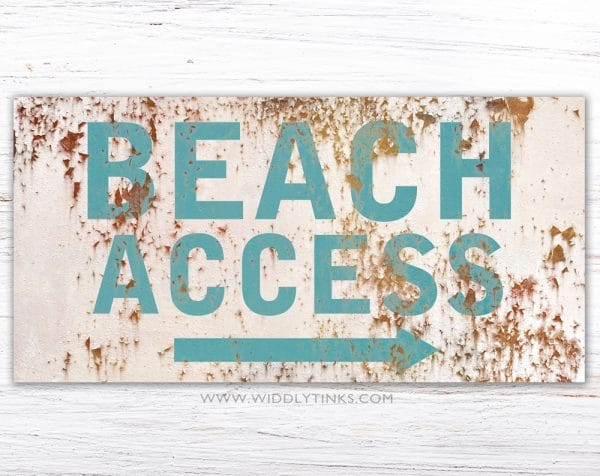 industrial beach access sign cream simple