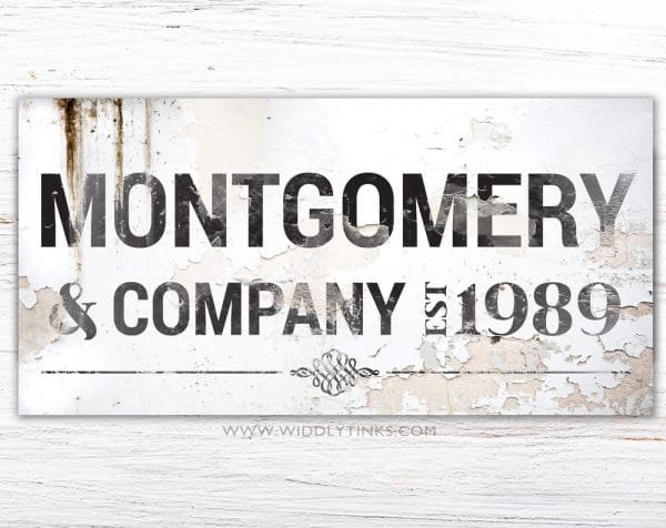 industrial farmhouse family company last name sign simple