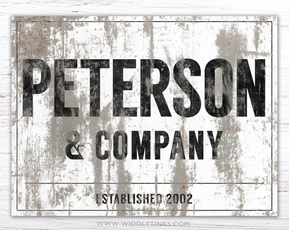 industrial farmhouse family company sign white simple
