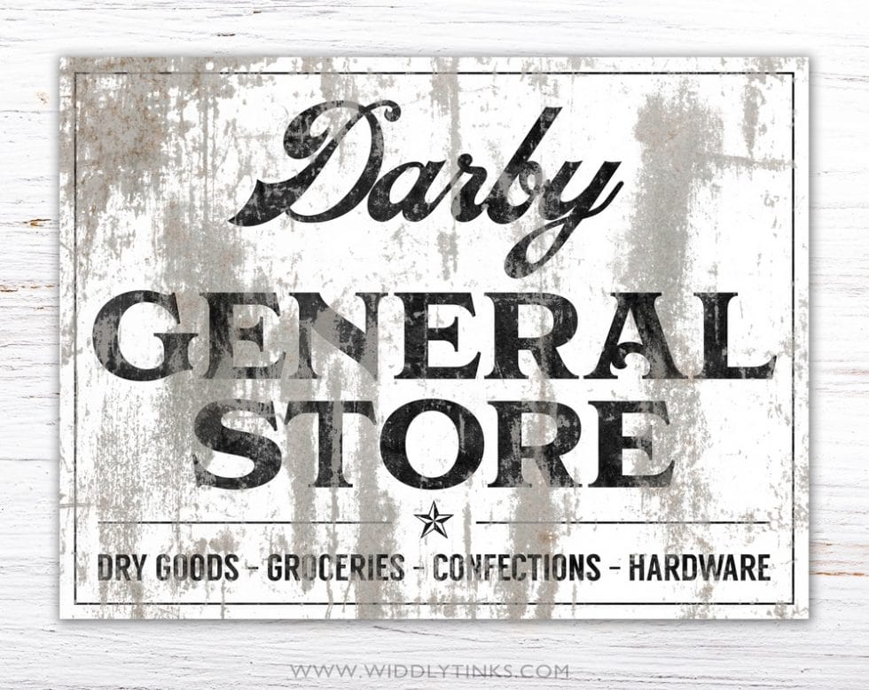 industrial farmhouse family last name general store sign simple
