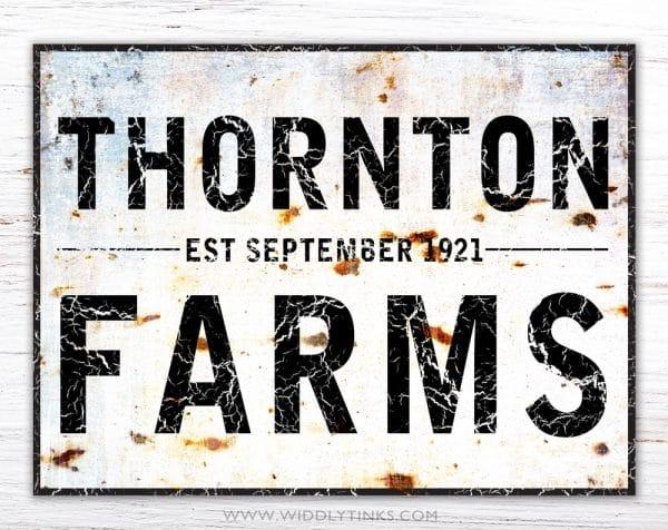 industrial farmhouse family name farm sign simple
