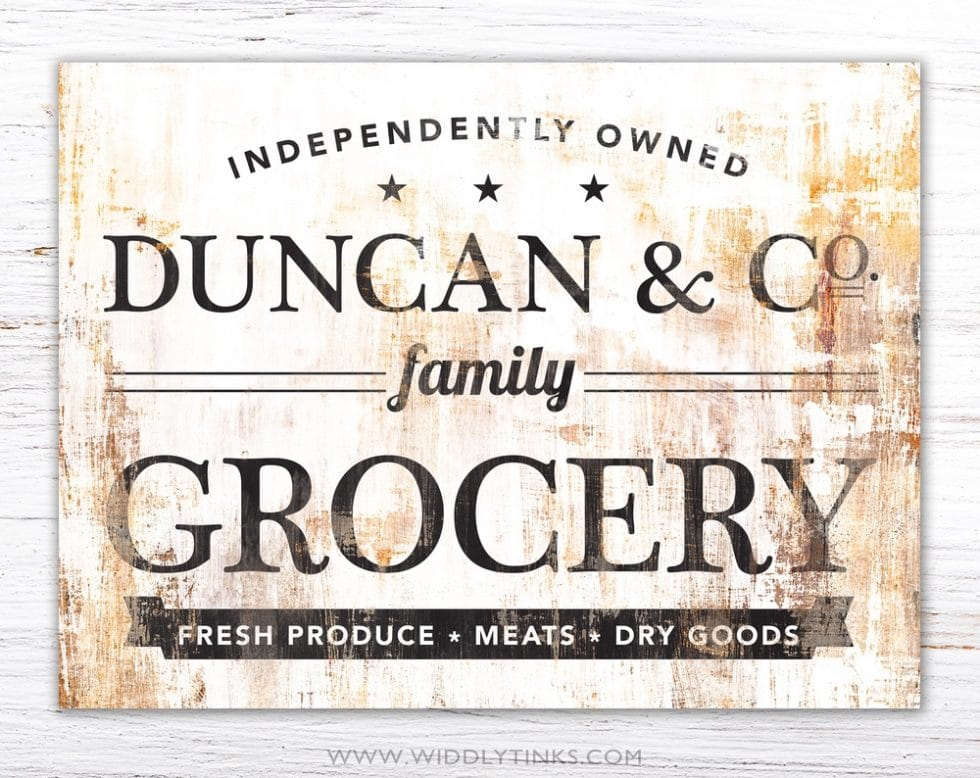 industrial farmhouse last name family grocery sign simple