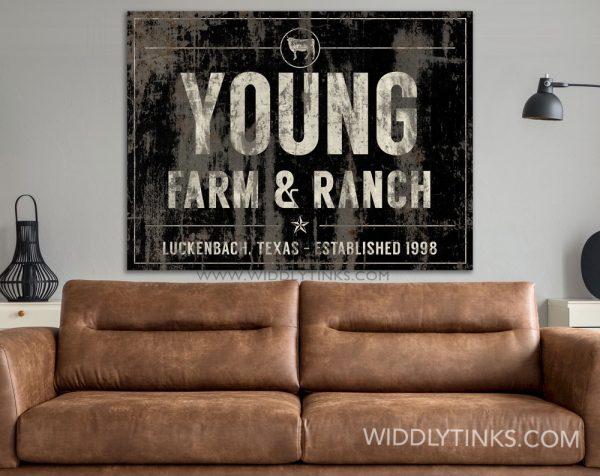 industrial farmhouse last name farm ranch cattle sign black room1