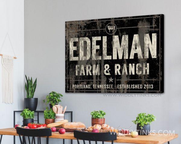 industrial farmhouse last name farm ranch cattle sign black room2