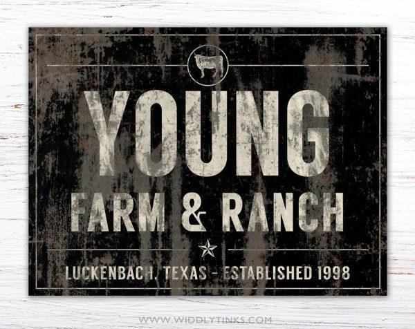 industrial farmhouse last name farm ranch cattle sign black simple