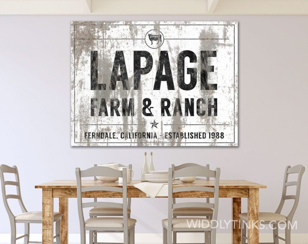 industrial farmhouse last name farm ranch cattle sign white room1