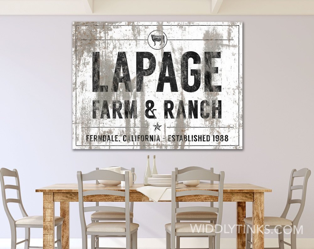Farm & Ranch Cattle Family Name Established Sign