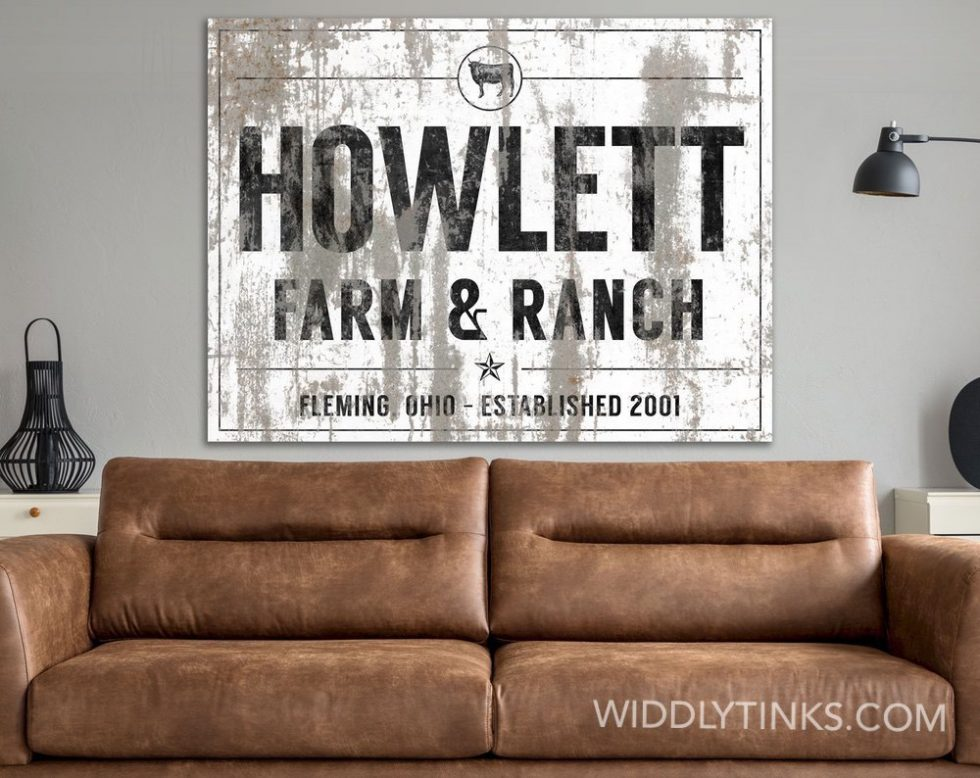 industrial farmhouse last name farm ranch cattle sign white room2