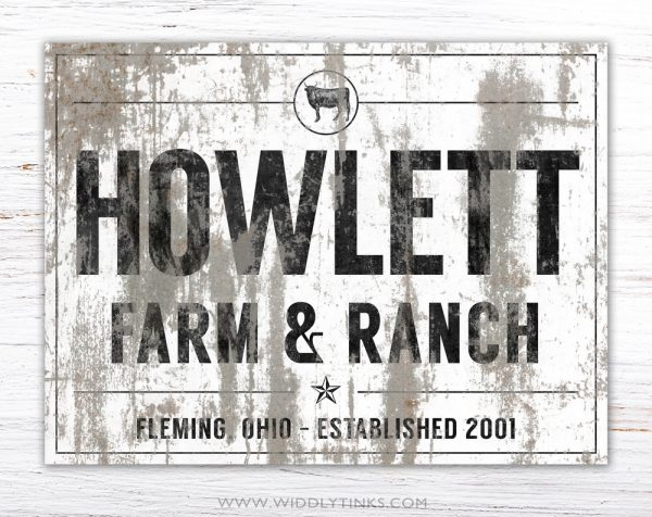 industrial farmhouse last name farm ranch cattle sign white simple