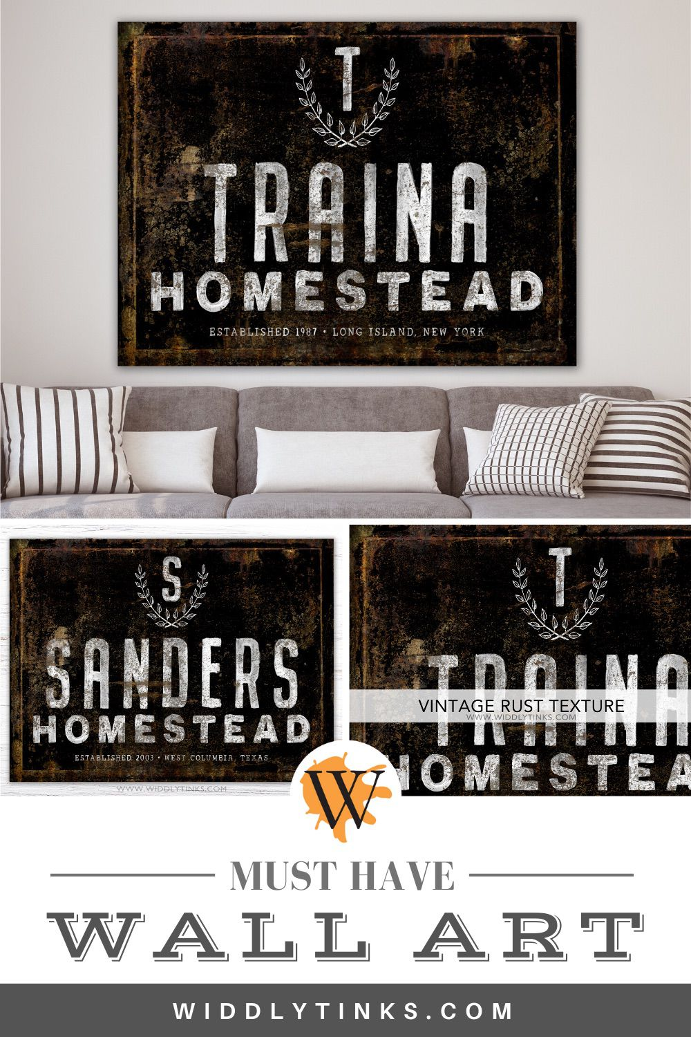 industrial farmhouse personalized family homestead sign black