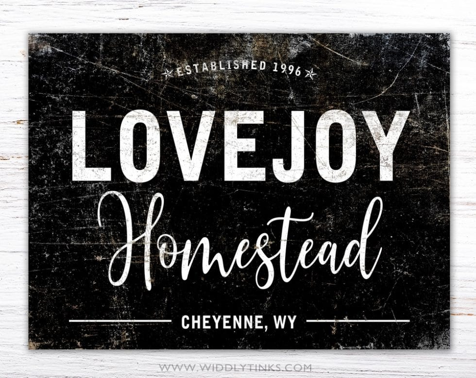 industrial rustic homestead family sign black simple