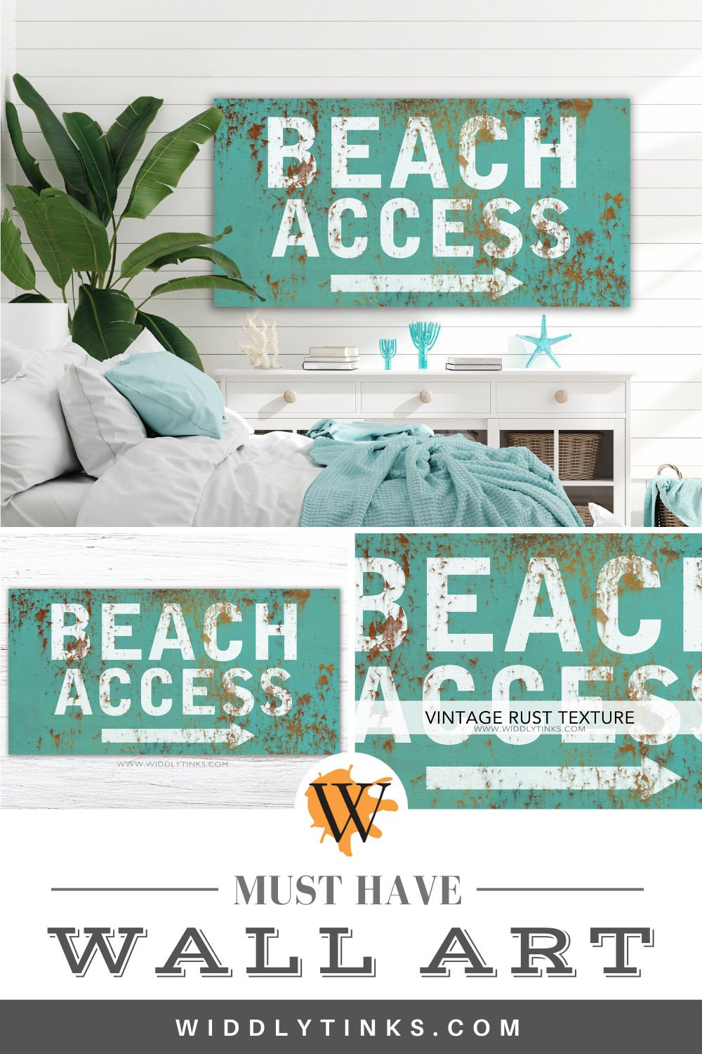 industrial vintage beach access sign blue