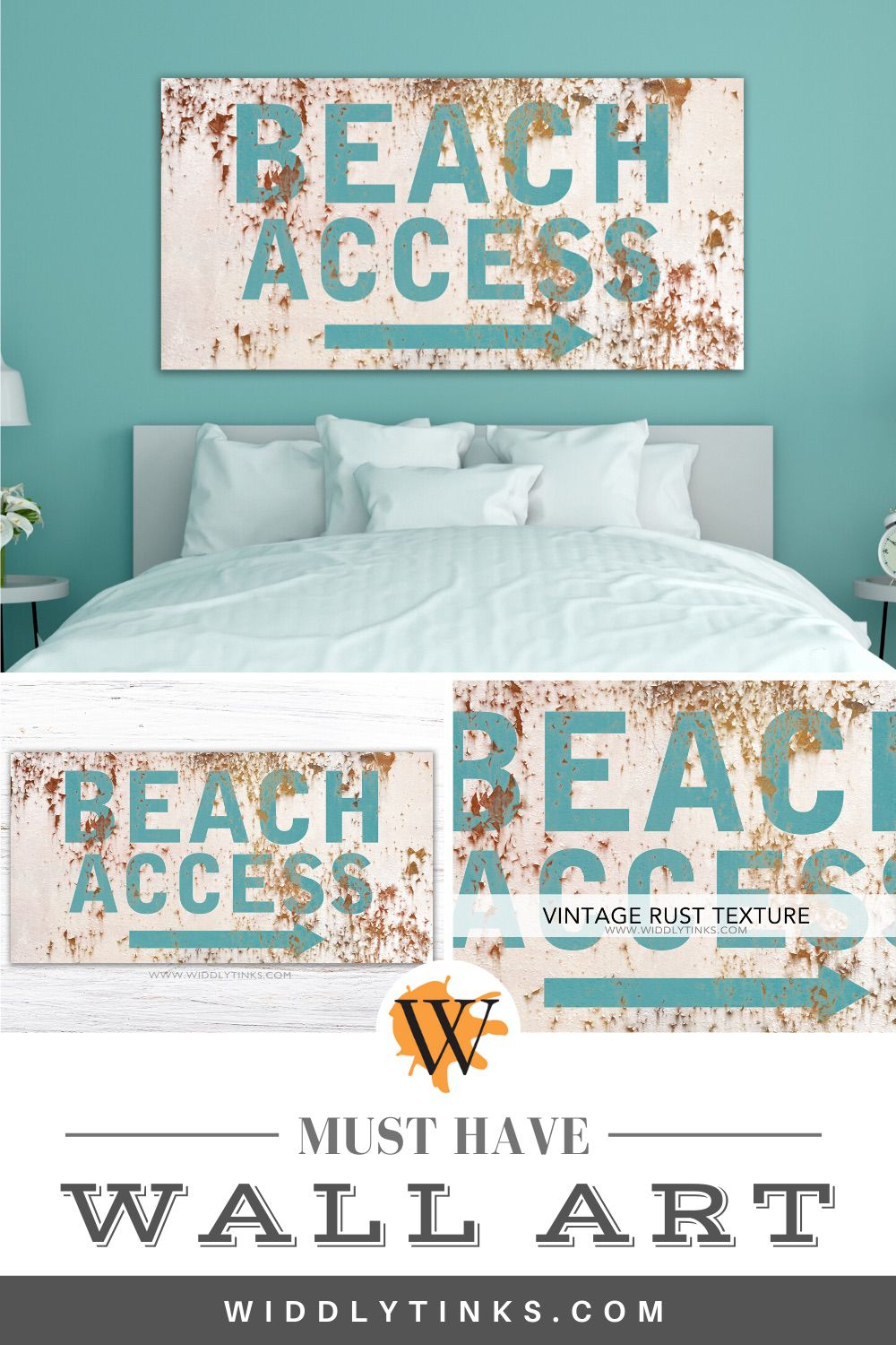 industrial vintage beach access sign cream
