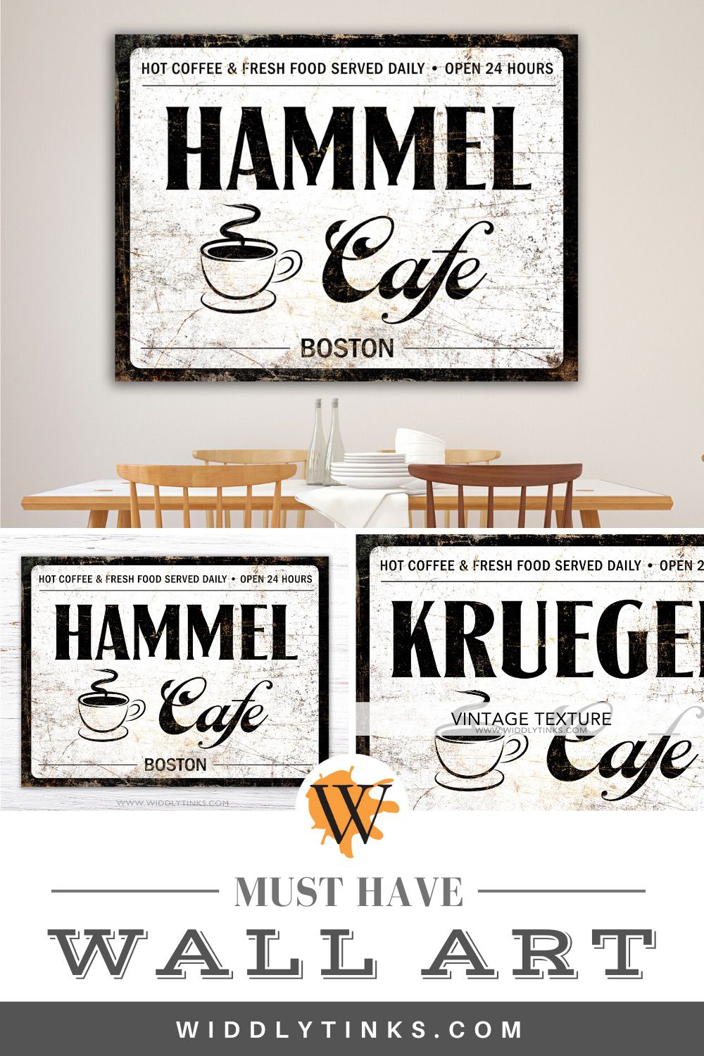 industrial vintage coffee cafe sign white