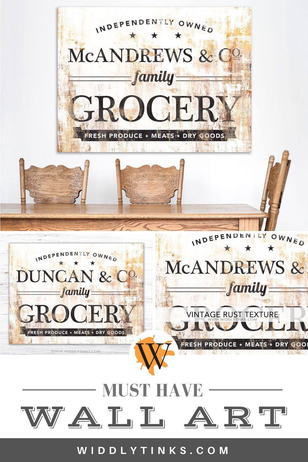 industrial vintage family name grocery sign