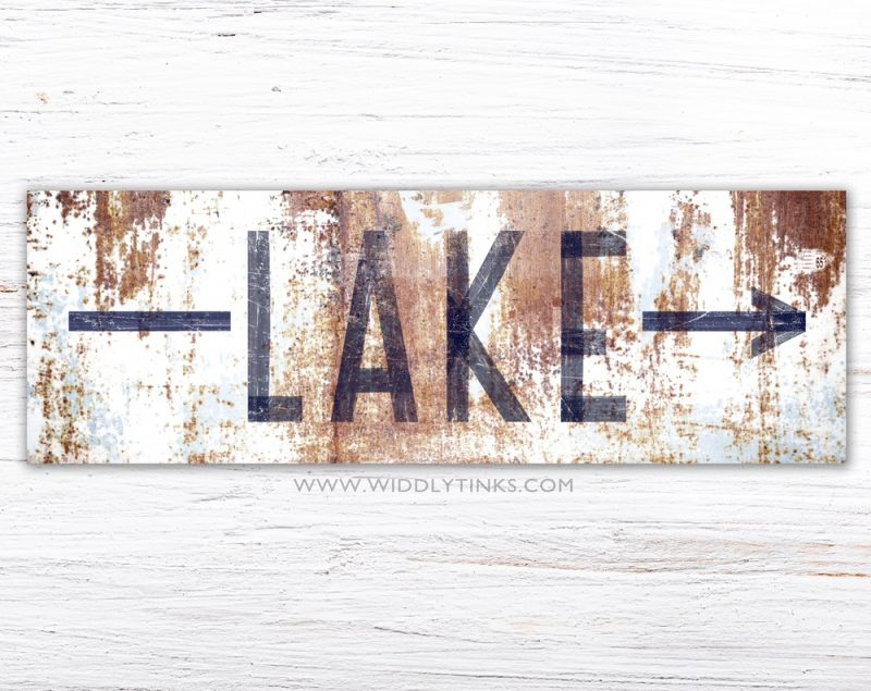 Industrial Lake Arrow Sign White