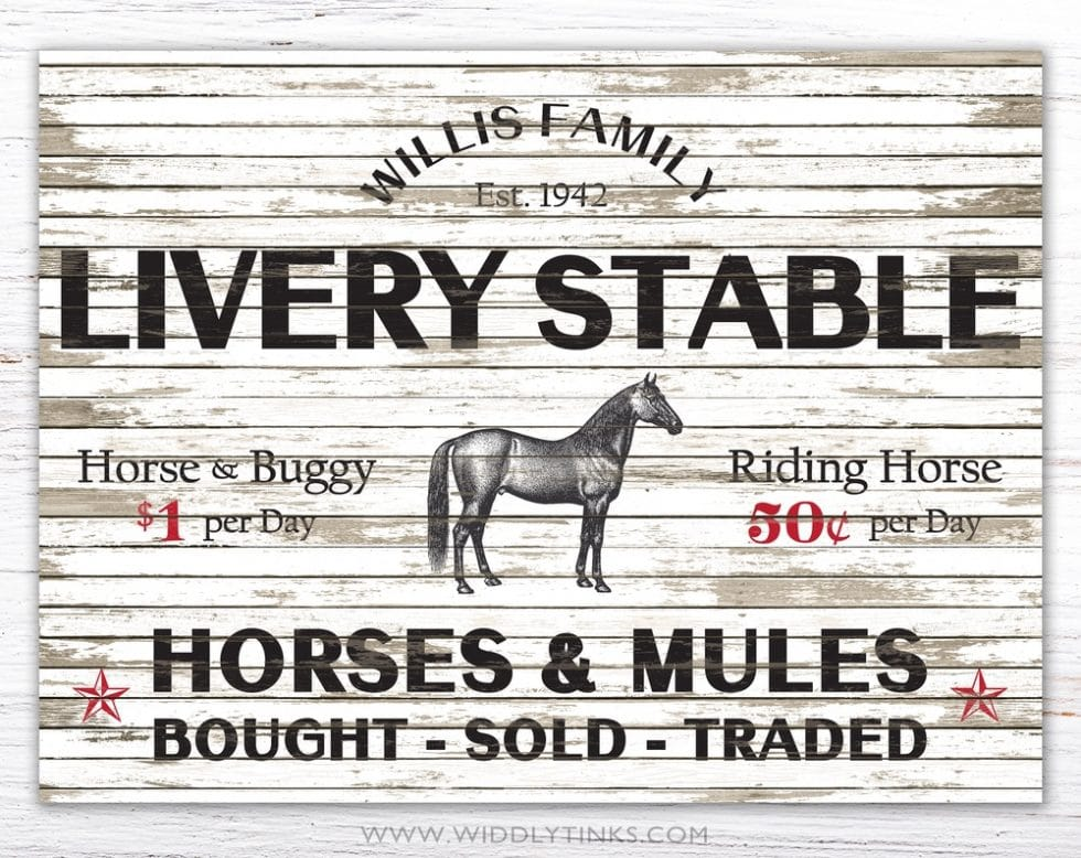 livery stable horse mule sign simple